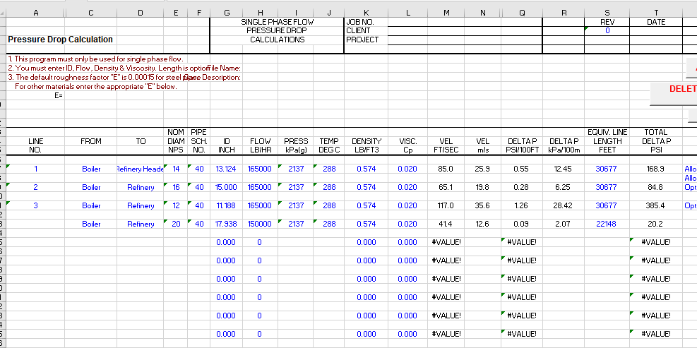 Pipe Pressure Drop Calculation Excel Sheet – EngTank