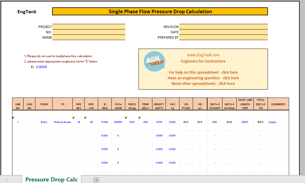 Pipe Pressure Drop Calculation Excel Sheet